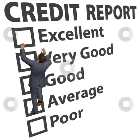 Business man build credit score rating up